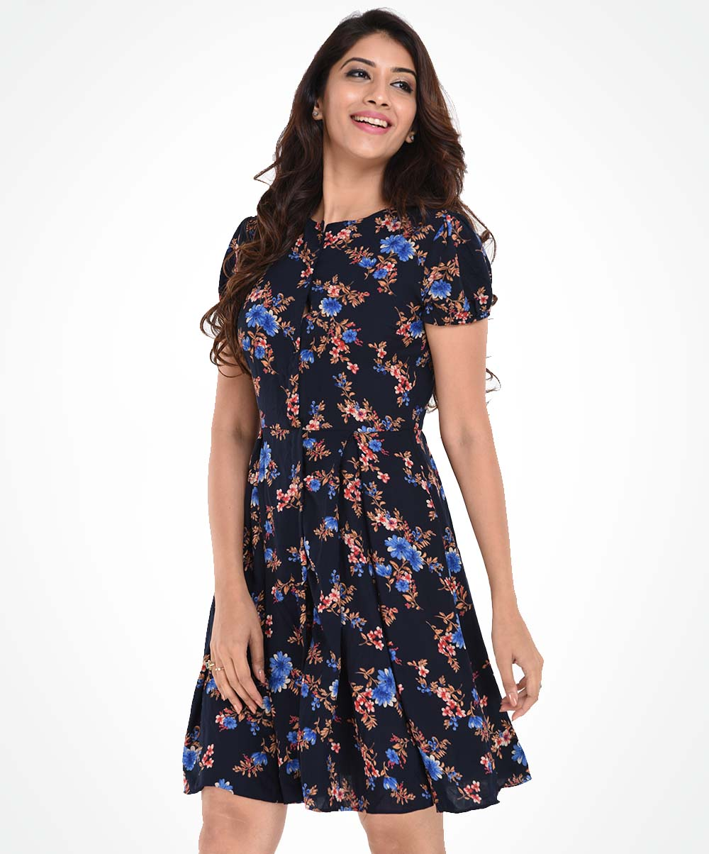 Blue Micro Floral Round Neck Dress