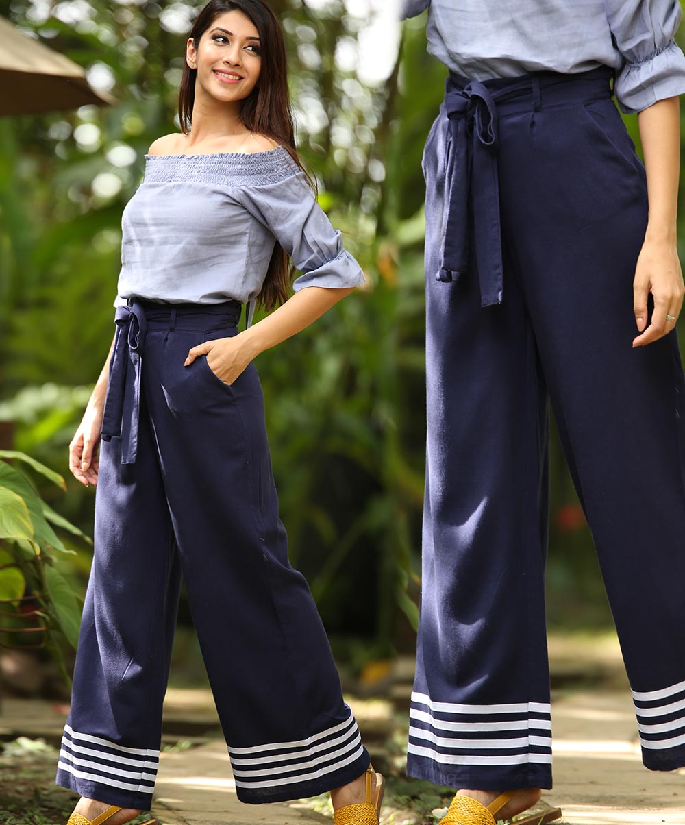 Navy Blue Waist Tie Striped Detail Pant