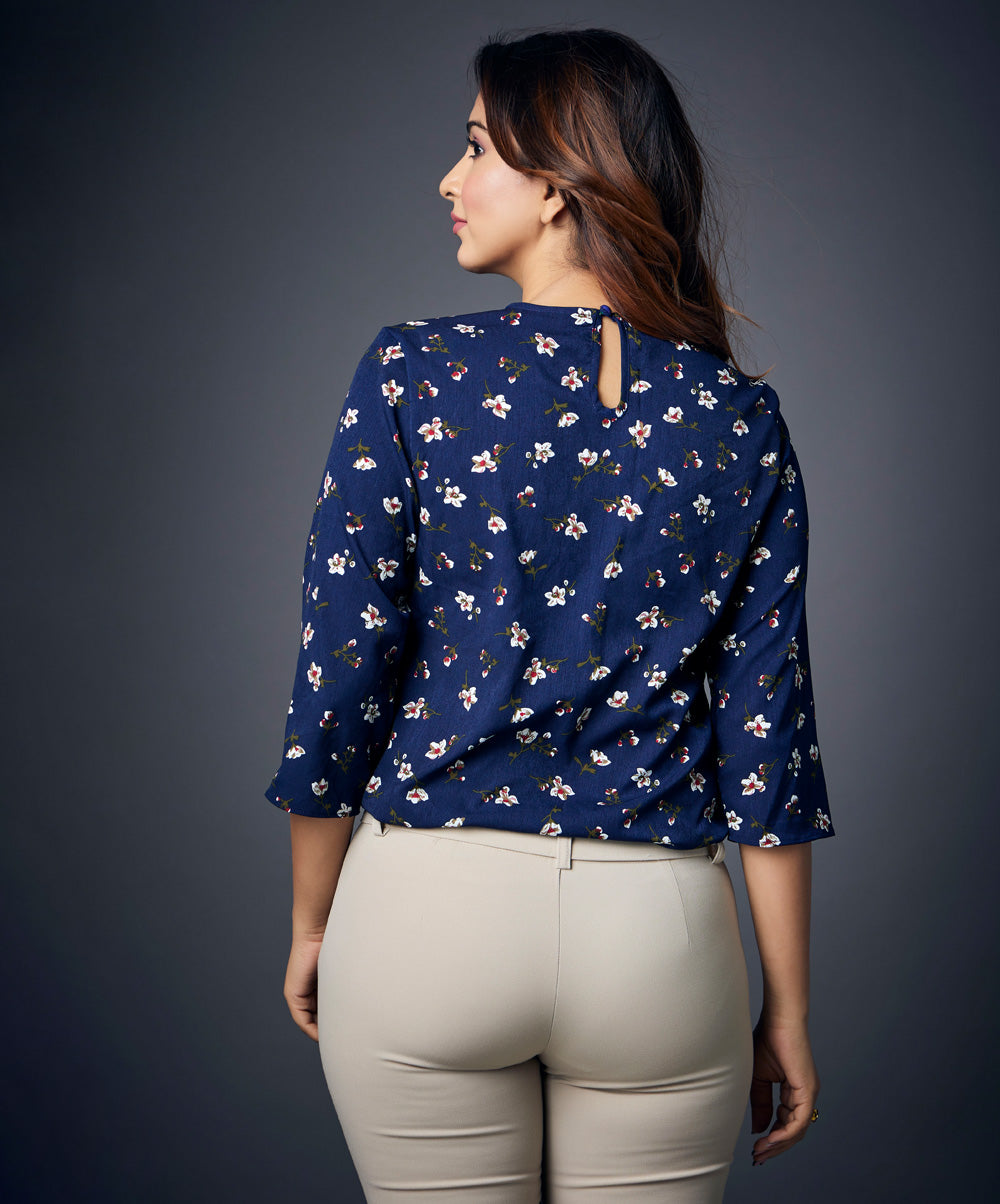 Blue Floral Three Quarter Sleeve Top