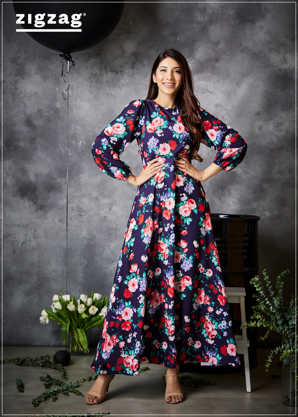 Blue Based Bash Floral Dress