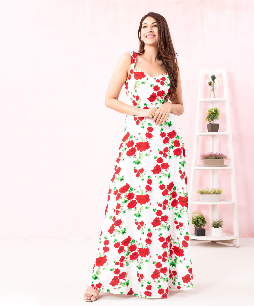 Red Floral Deep Cut Maxi