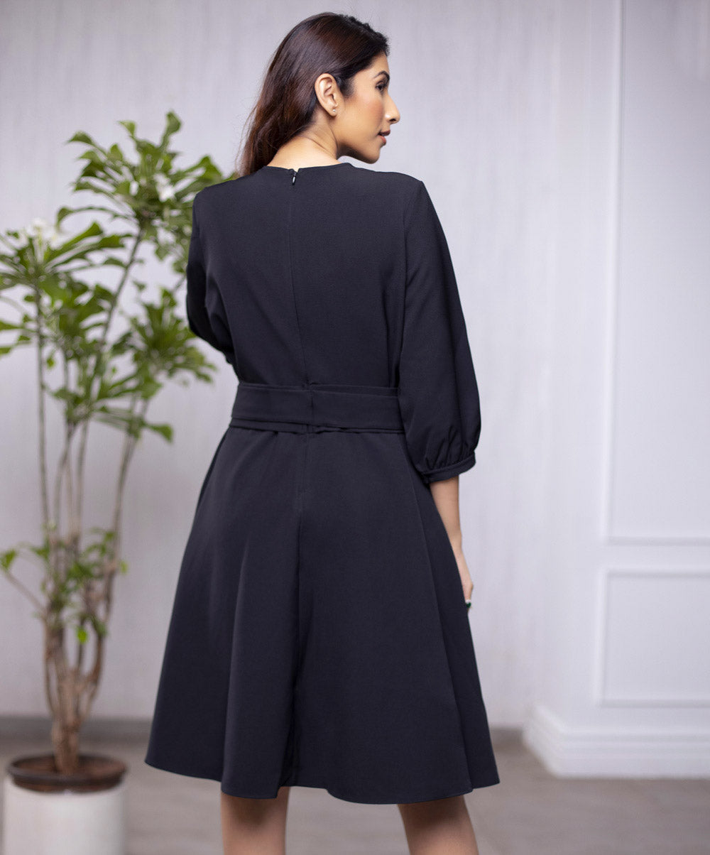 Side Bow Puffed Sleeve Dress
