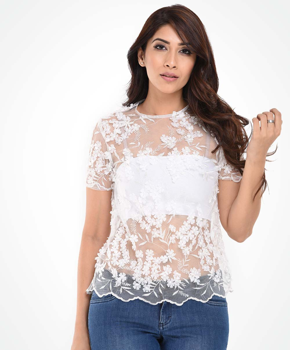White Mesh Floral Top