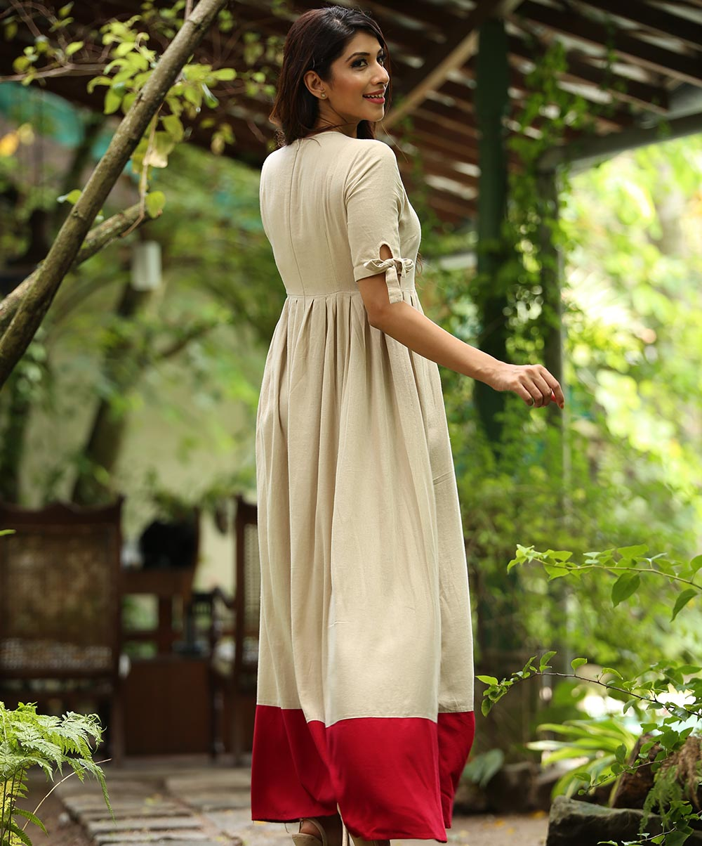 Beige Sleeve Tie Up Red Hem Maxi Dress