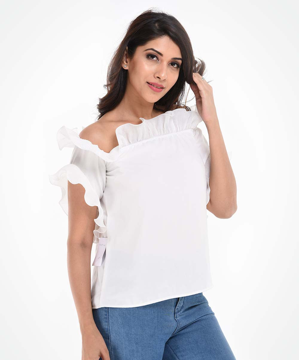 White Chiffon Frilled Top