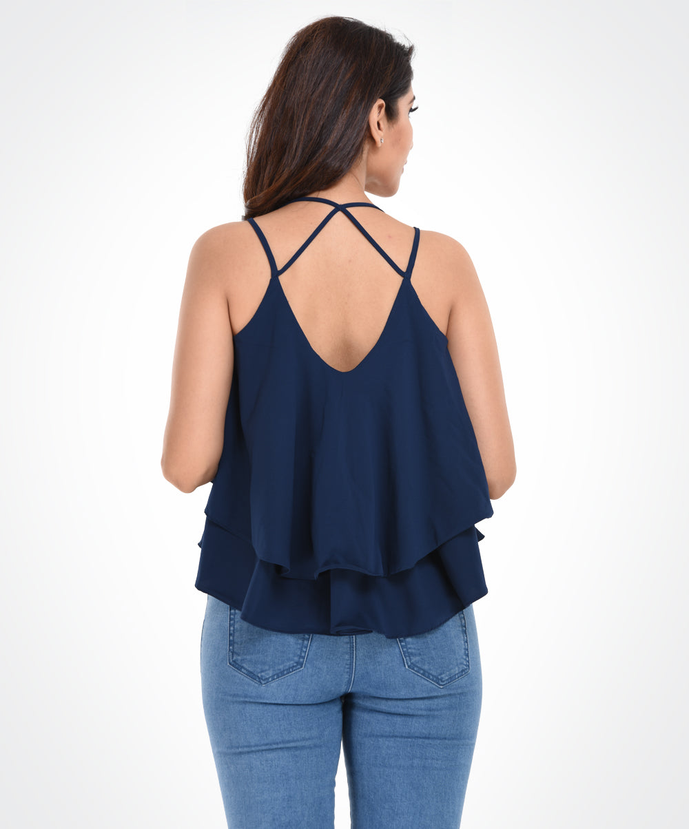 Navy Blue Solid Spaghetti Top