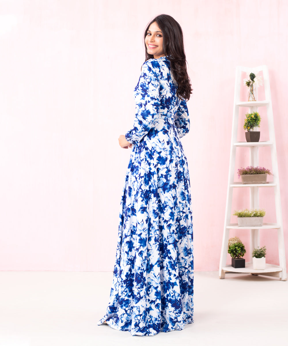 Blue Floral Printed Long Sleeved Maxi