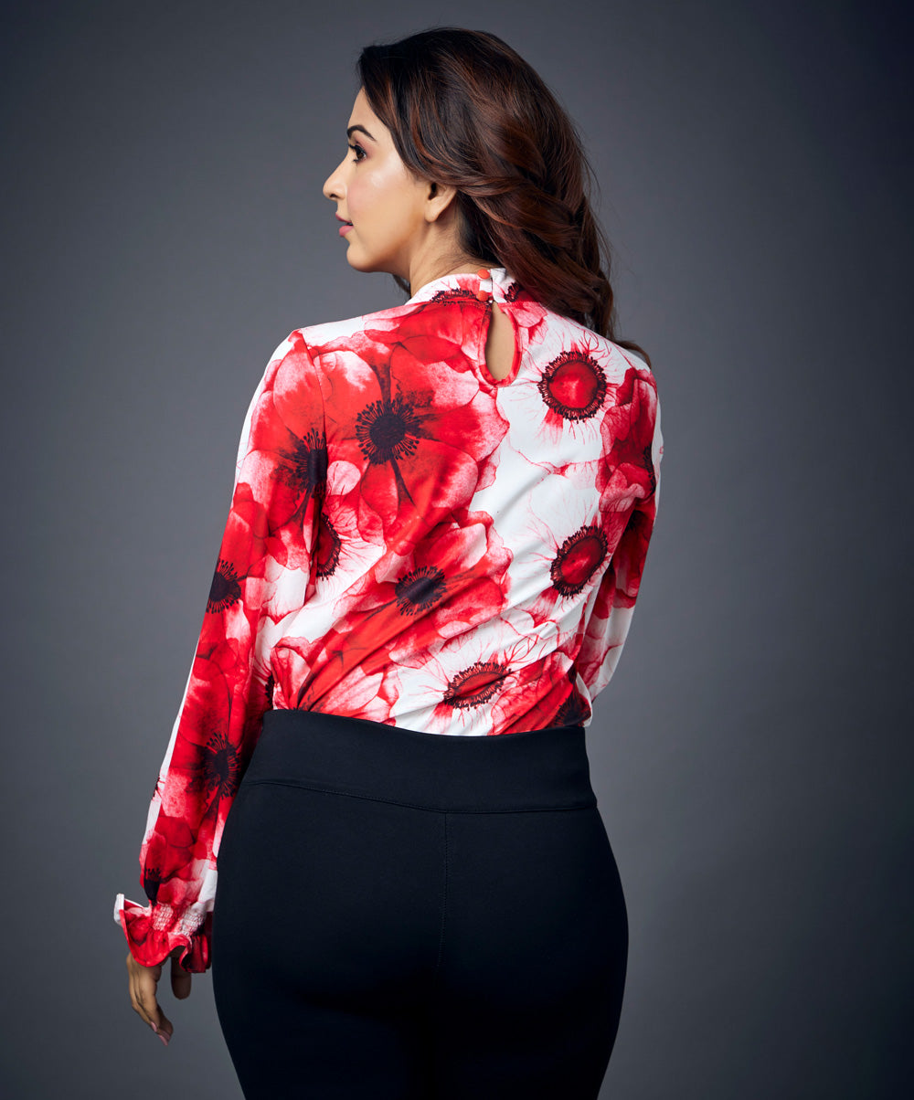 Puffed Sleeve Floral Top