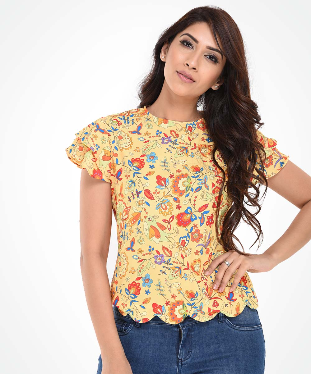 Yellow Printed Scallop Top