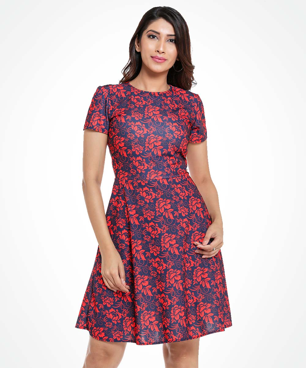 Crew Neck Red Floral Printed Dress