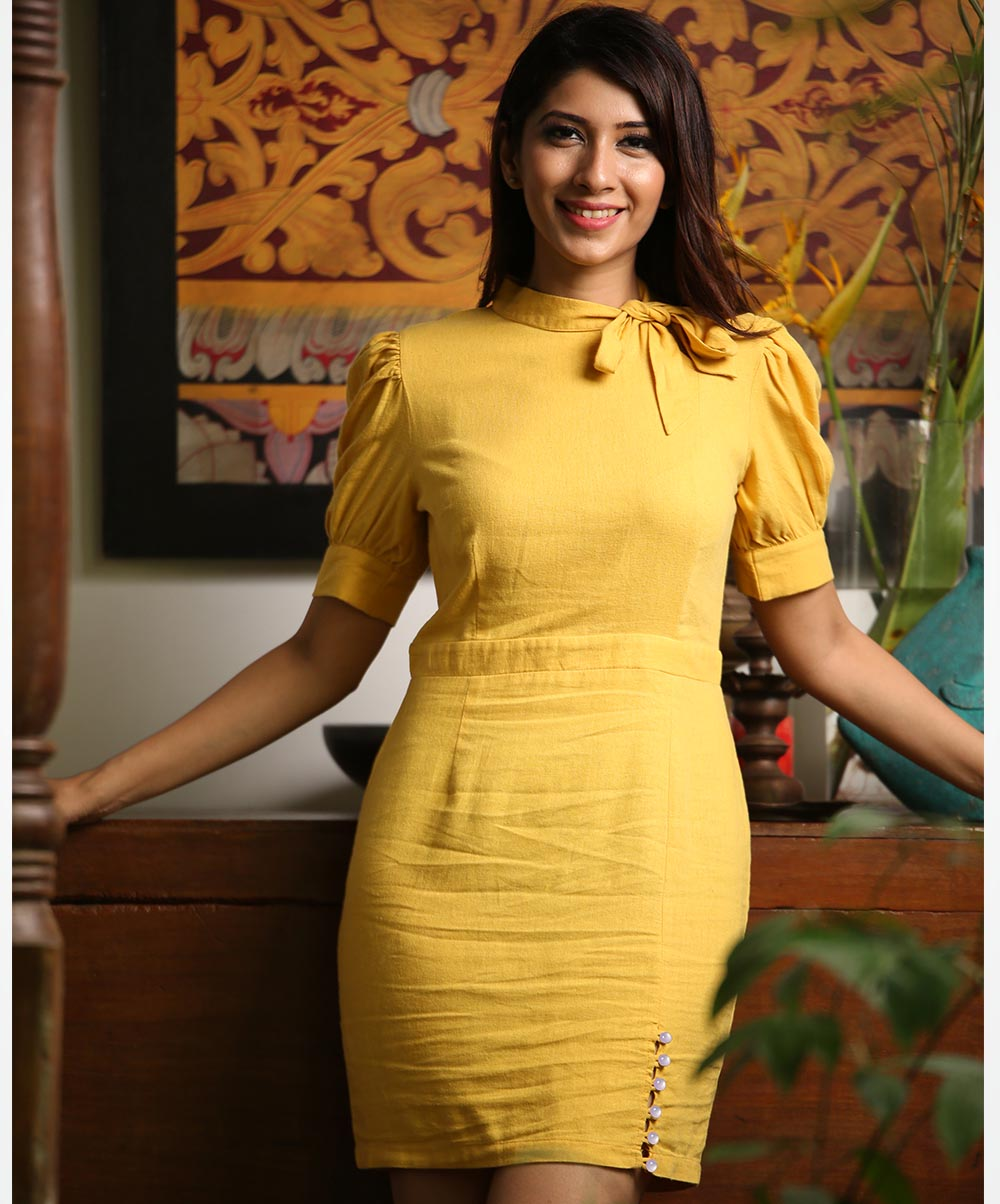 Mustard Yellow Puff Sleeved Mini Dress