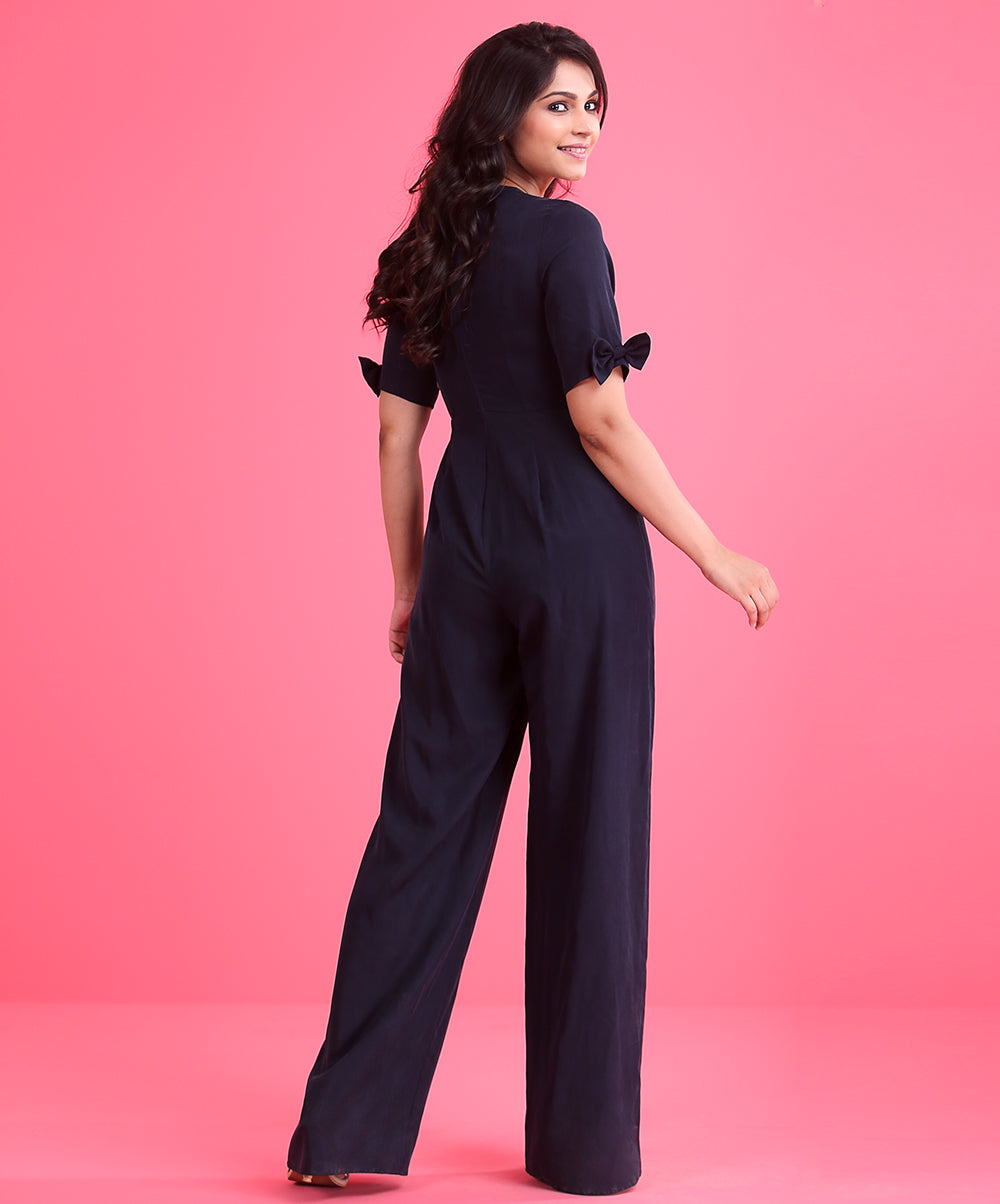 Navy Blue Bow Detailed Jump Suit