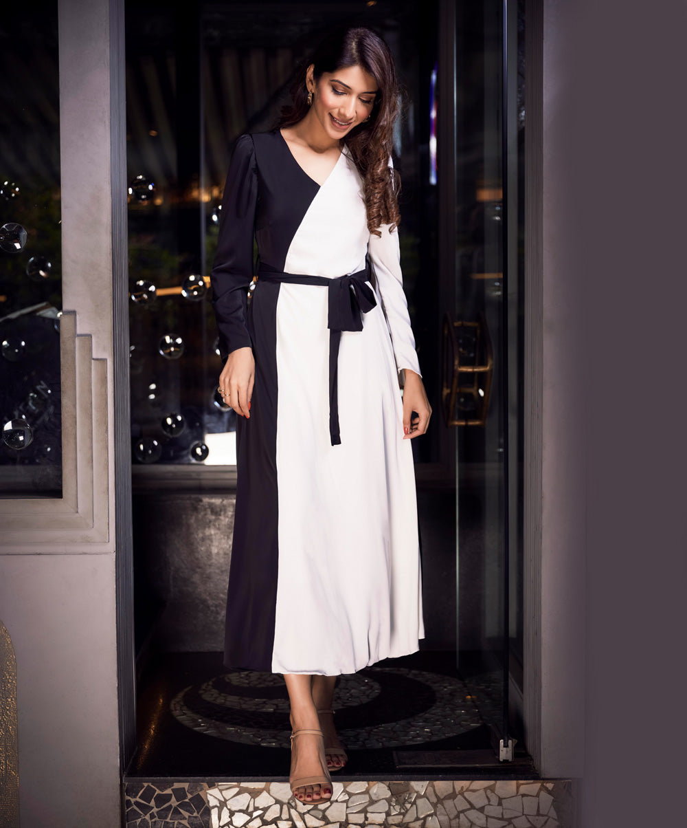 Leg Of Mutton Sleeve Self Belted Spliced Two Tone Dress