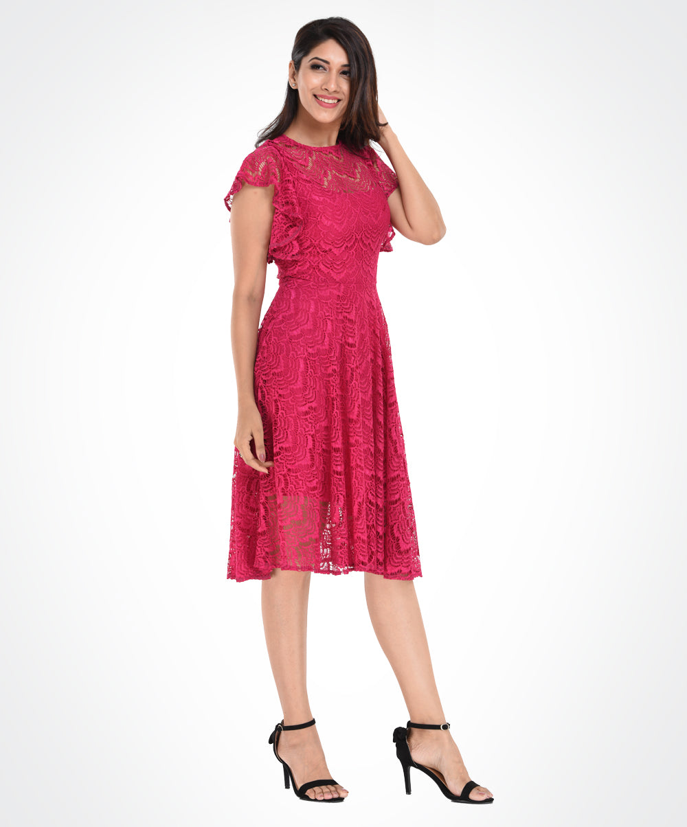 Hot Pink Lace Frilled Sleeve Dress