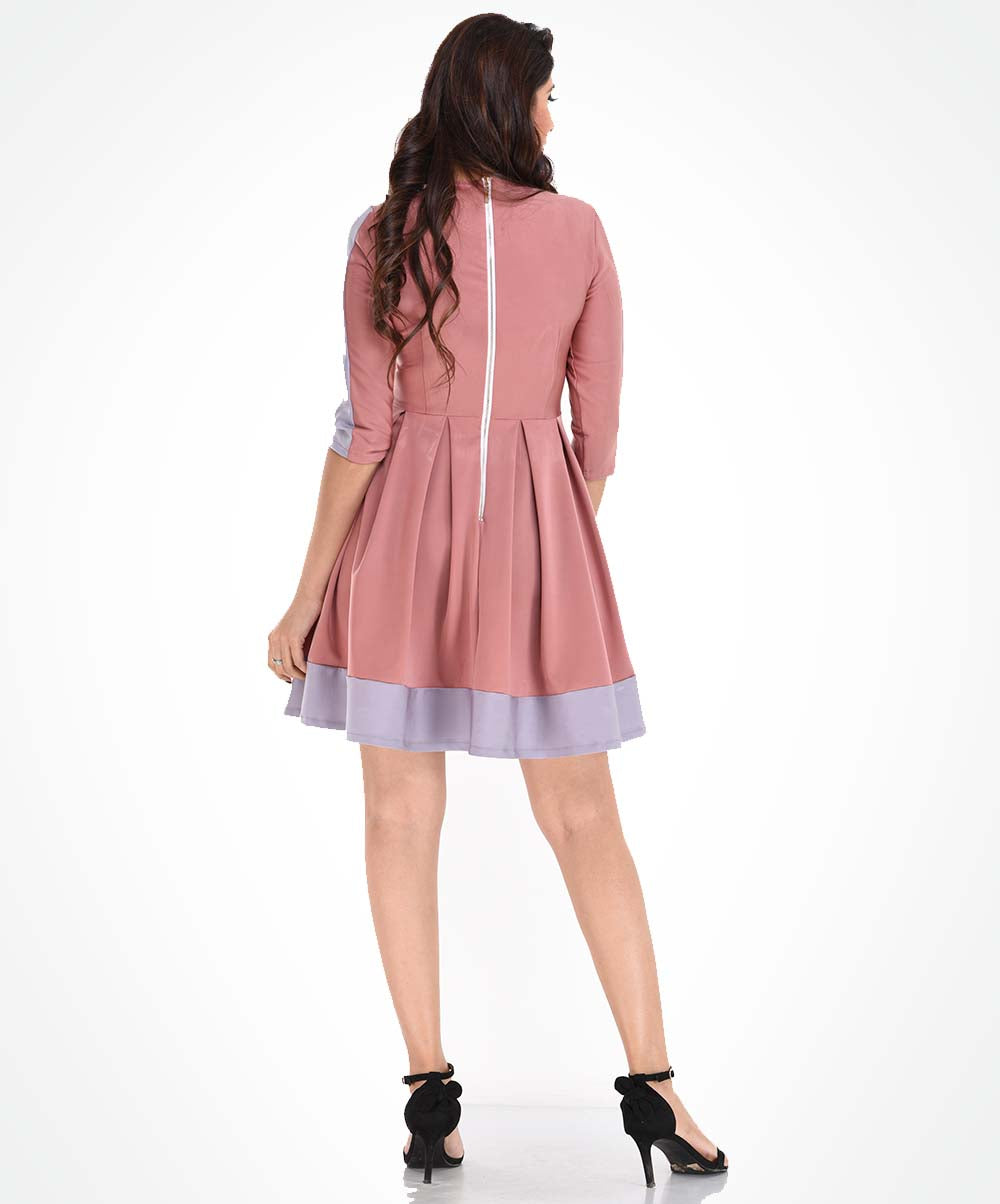 Pleated Rose Ponty Dress
