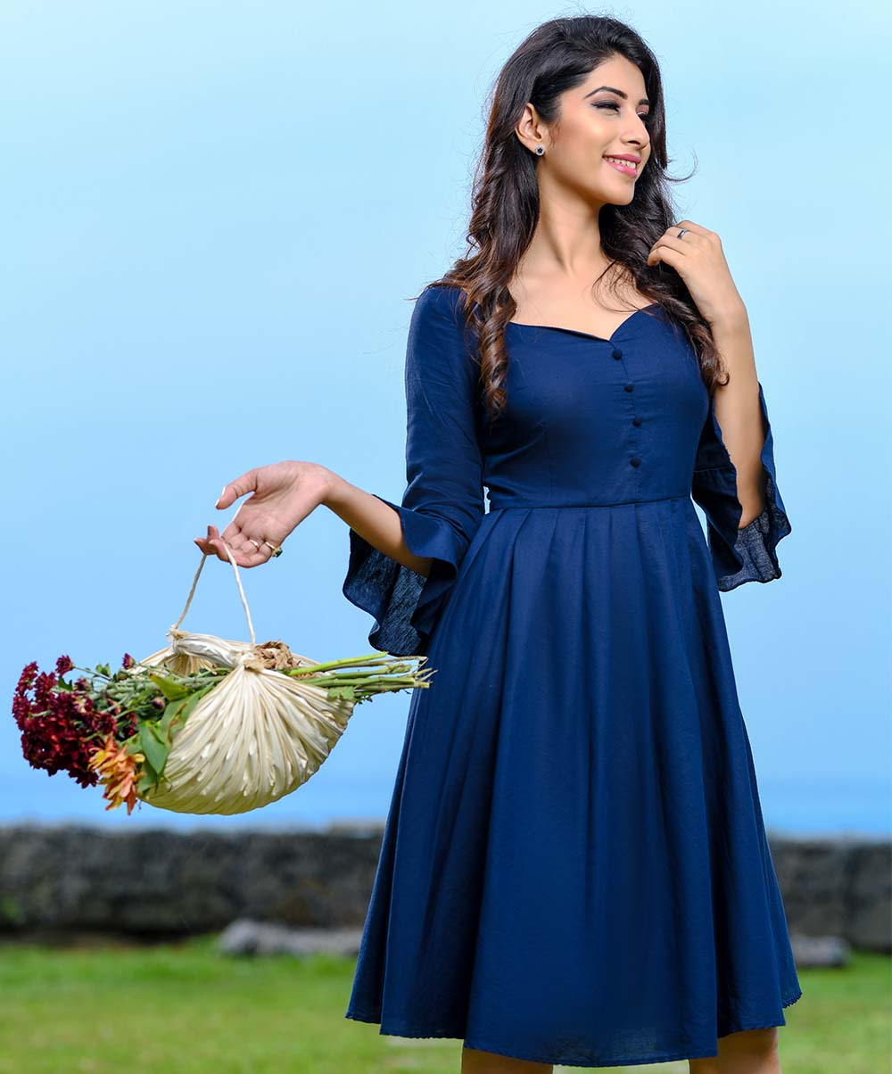 Blue Frilled Sweetheart Linen Dress