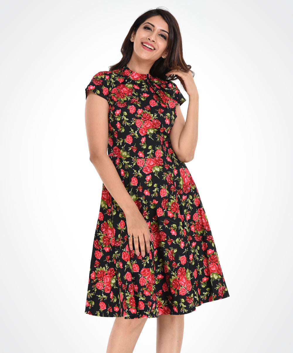 Red Floral Cap Sleeve High Neck Dress