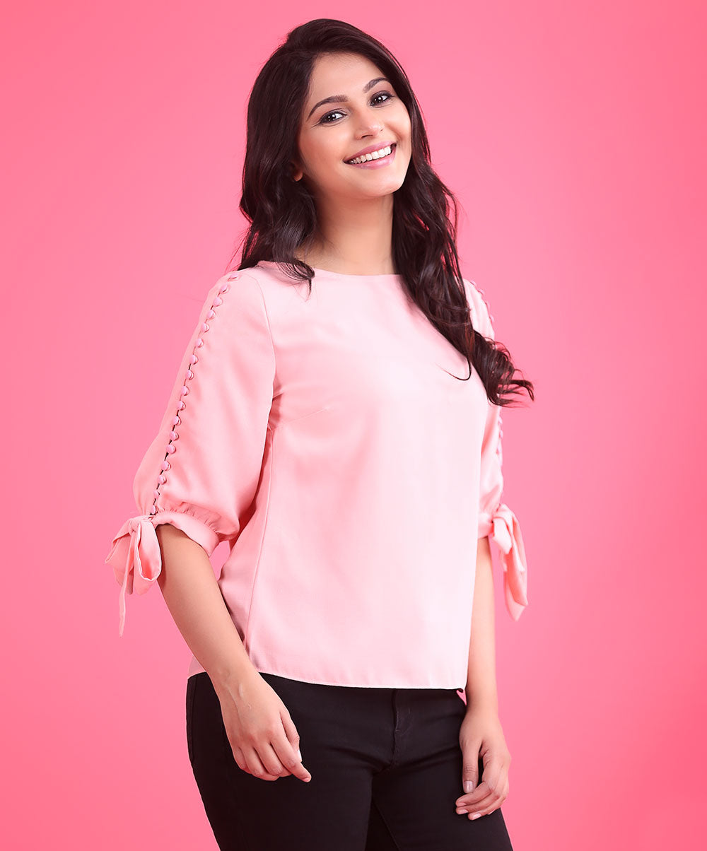 Button Detail Pink Top