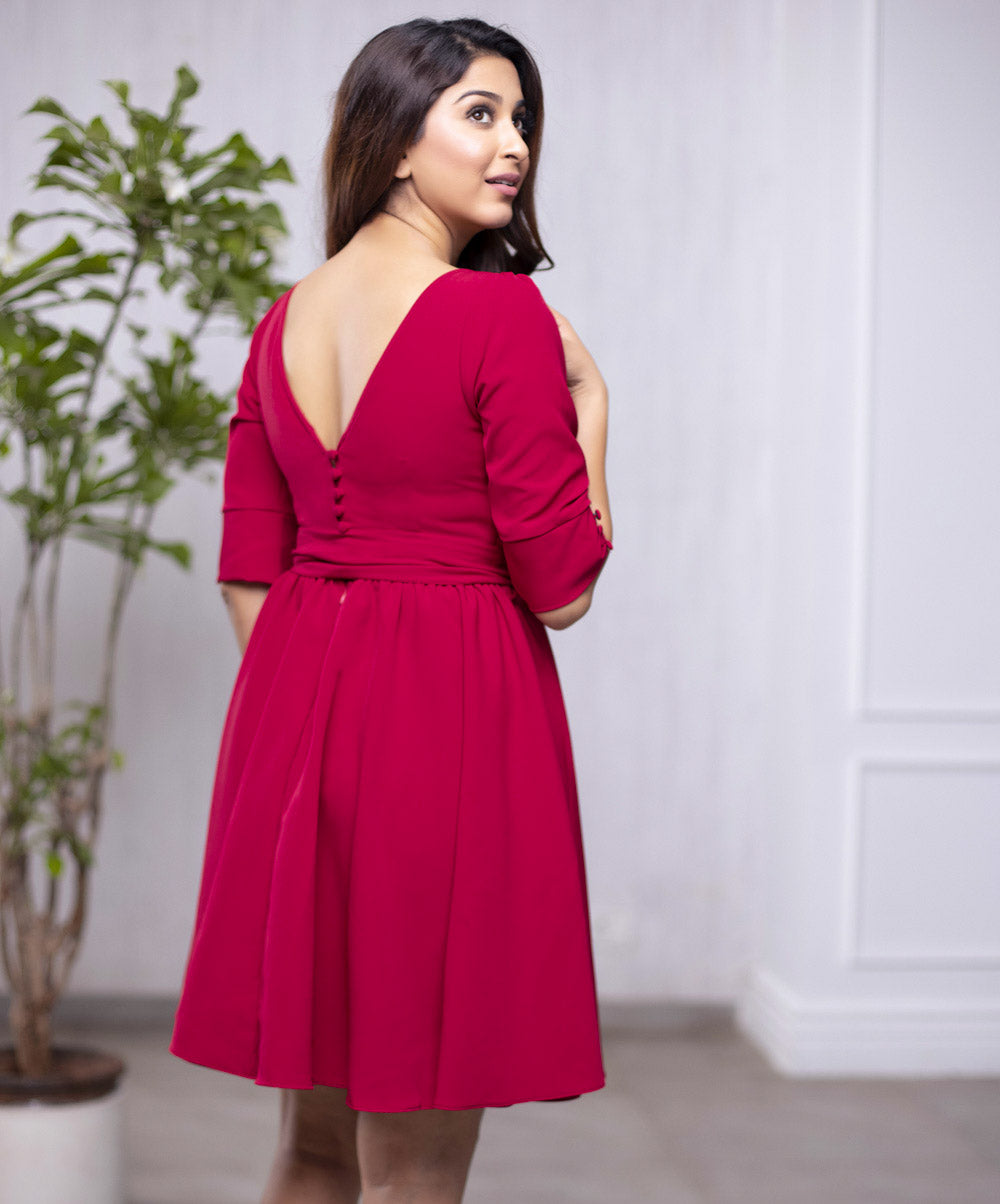 Back V-Cut Skater Dress Maroon