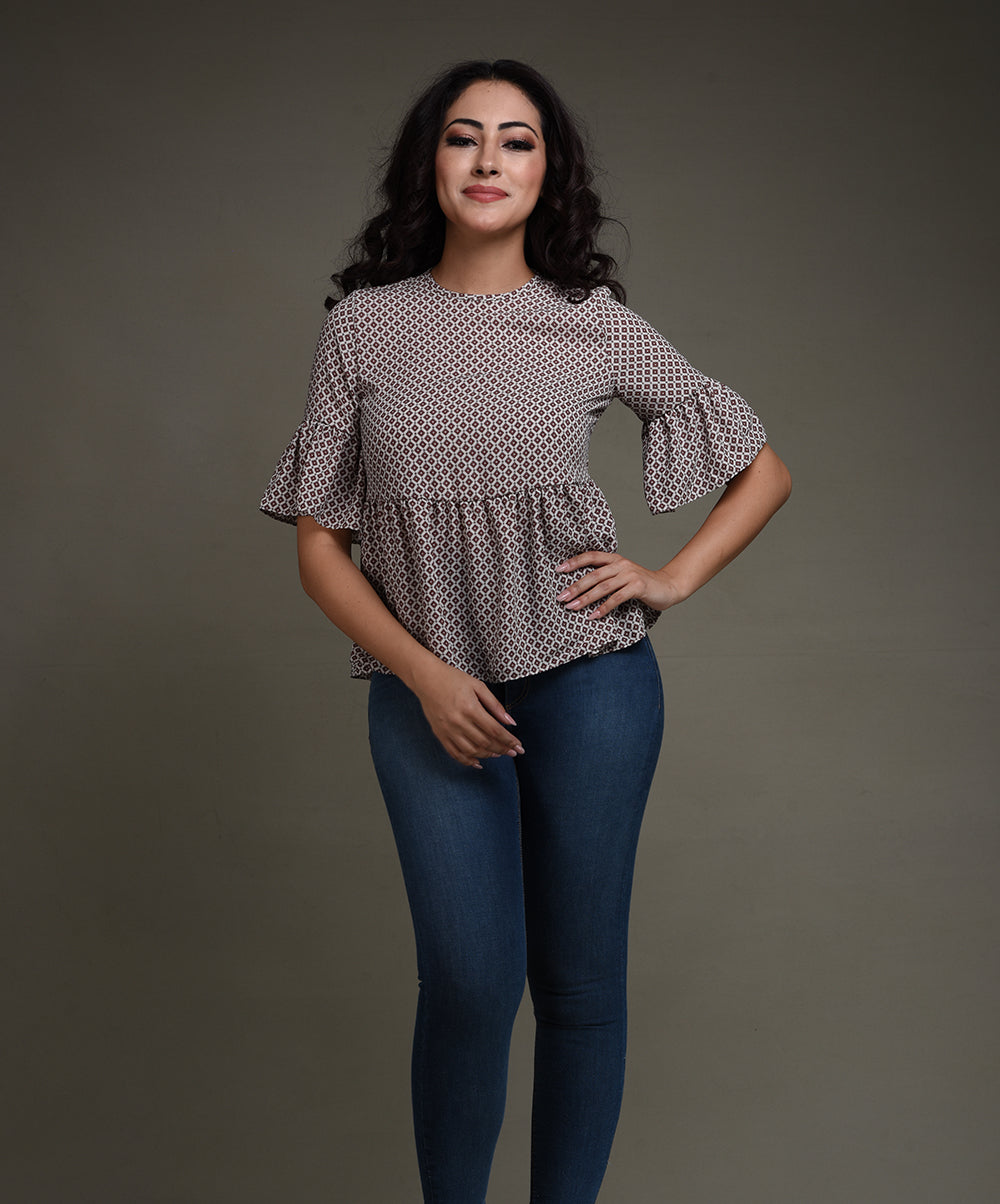 Grey Frilled Casual Top