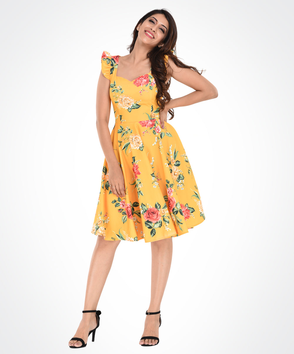Yellow Base Floral Printed Back Cross Dress