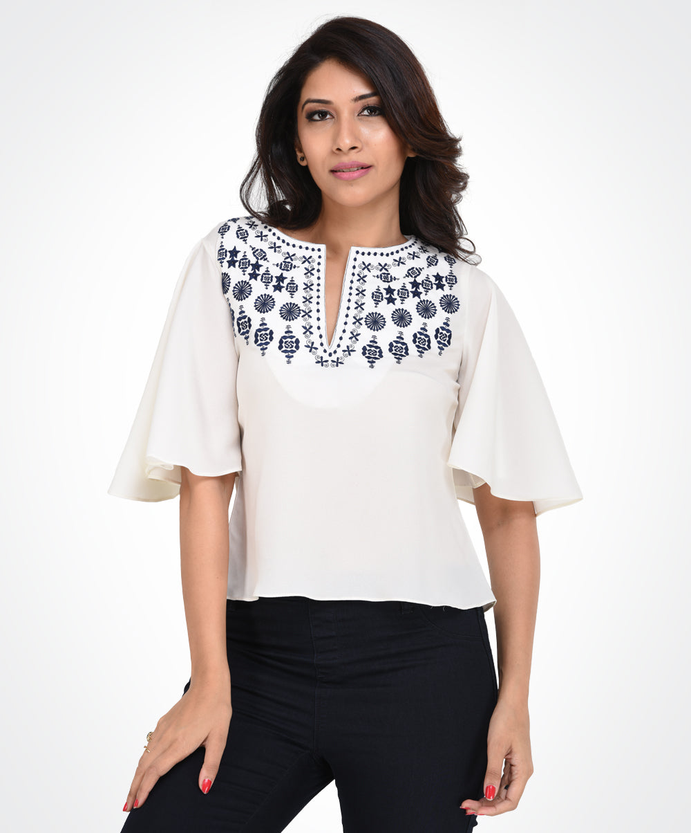 White Base Embroidery Top