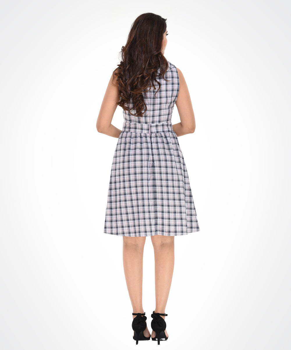White & Brown Check Coconut Buttoned Dress