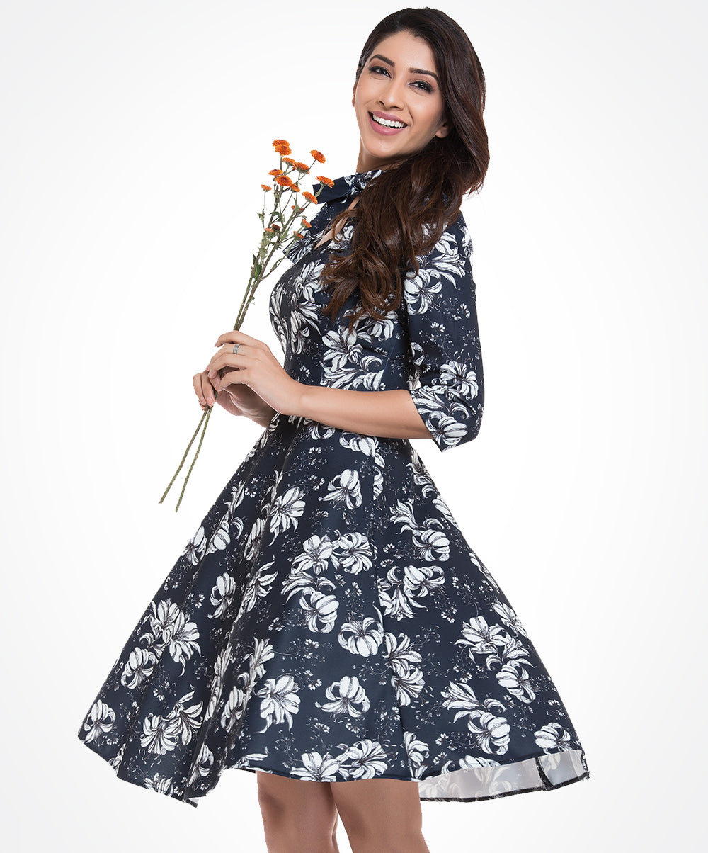 Navy Blue Printed Elsa Dress