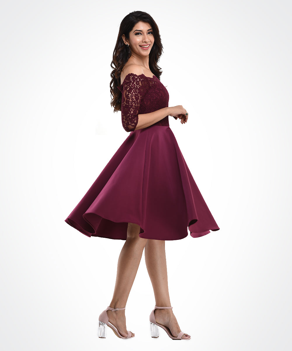 Plum Off Shoulder Lace Dress