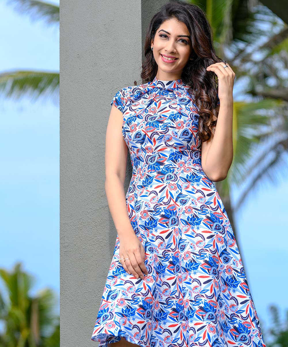 Blue Floral Printed Linen Dress
