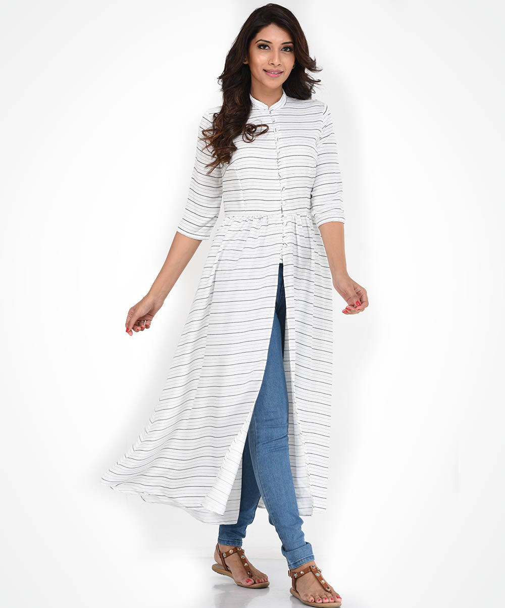 White Striped Tunic Top