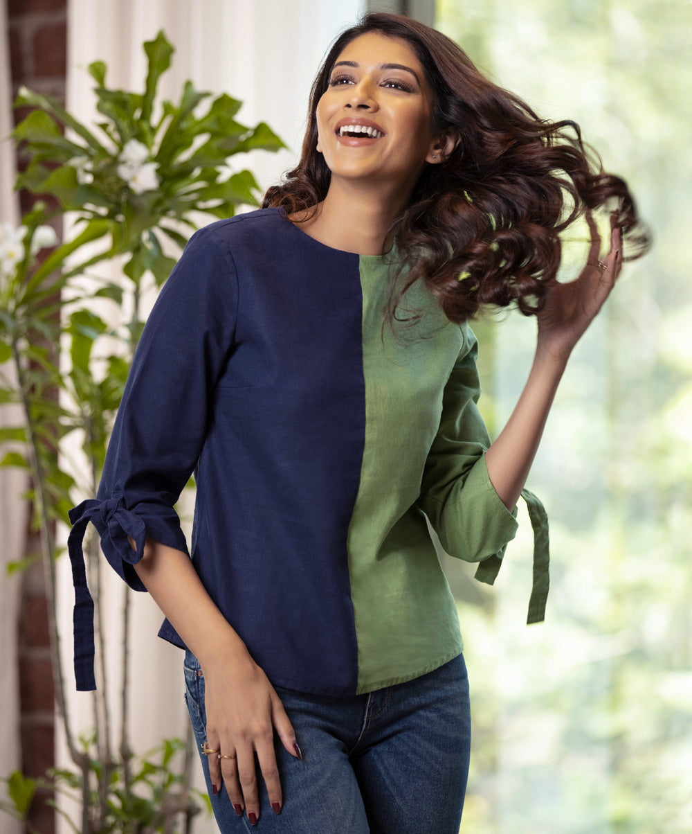 Navy Blue And Green Linen Top