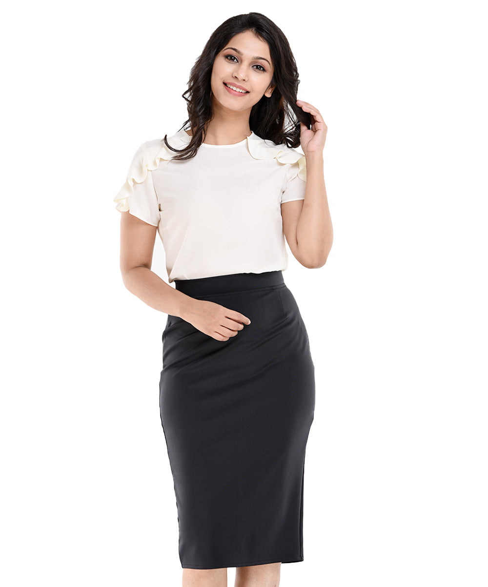 Zoe Black Knee Length Tight Skirt
