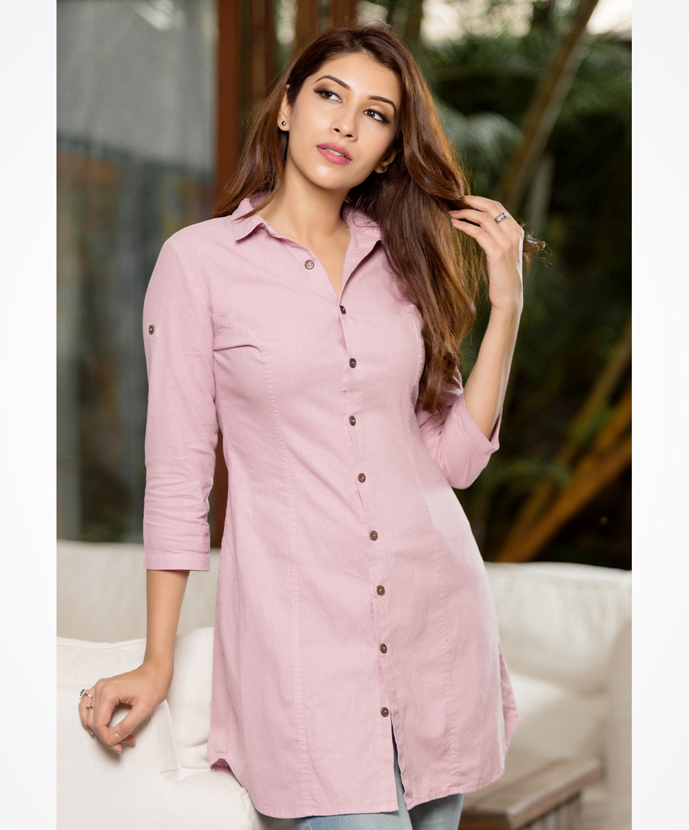 Keira Lavender Button Up Linen Tunic top
