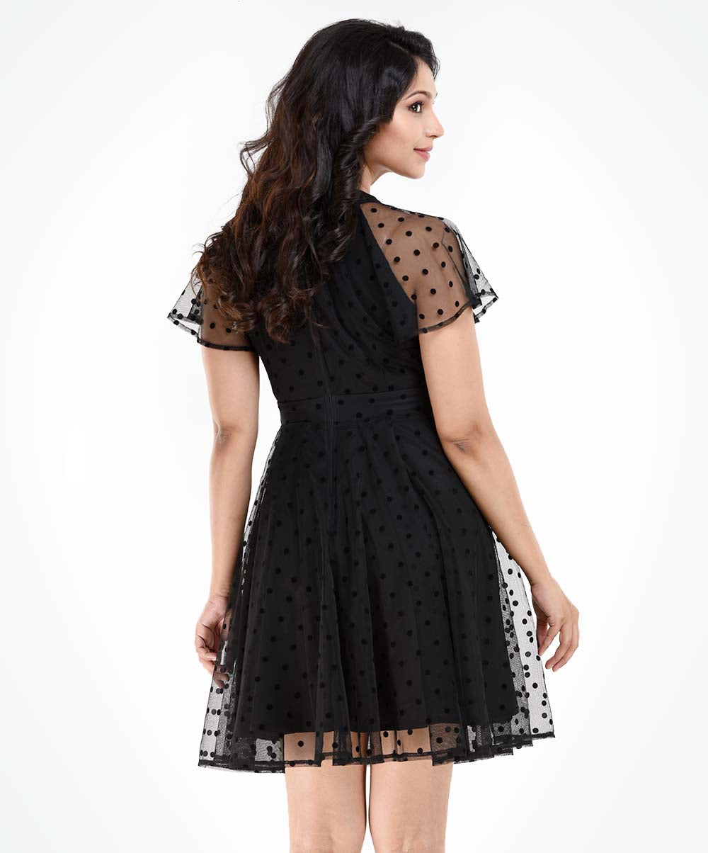 Stella Black Lace Knee Length Dress