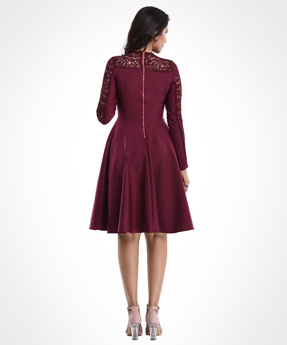 Plum Long Sleeves Lace Dress