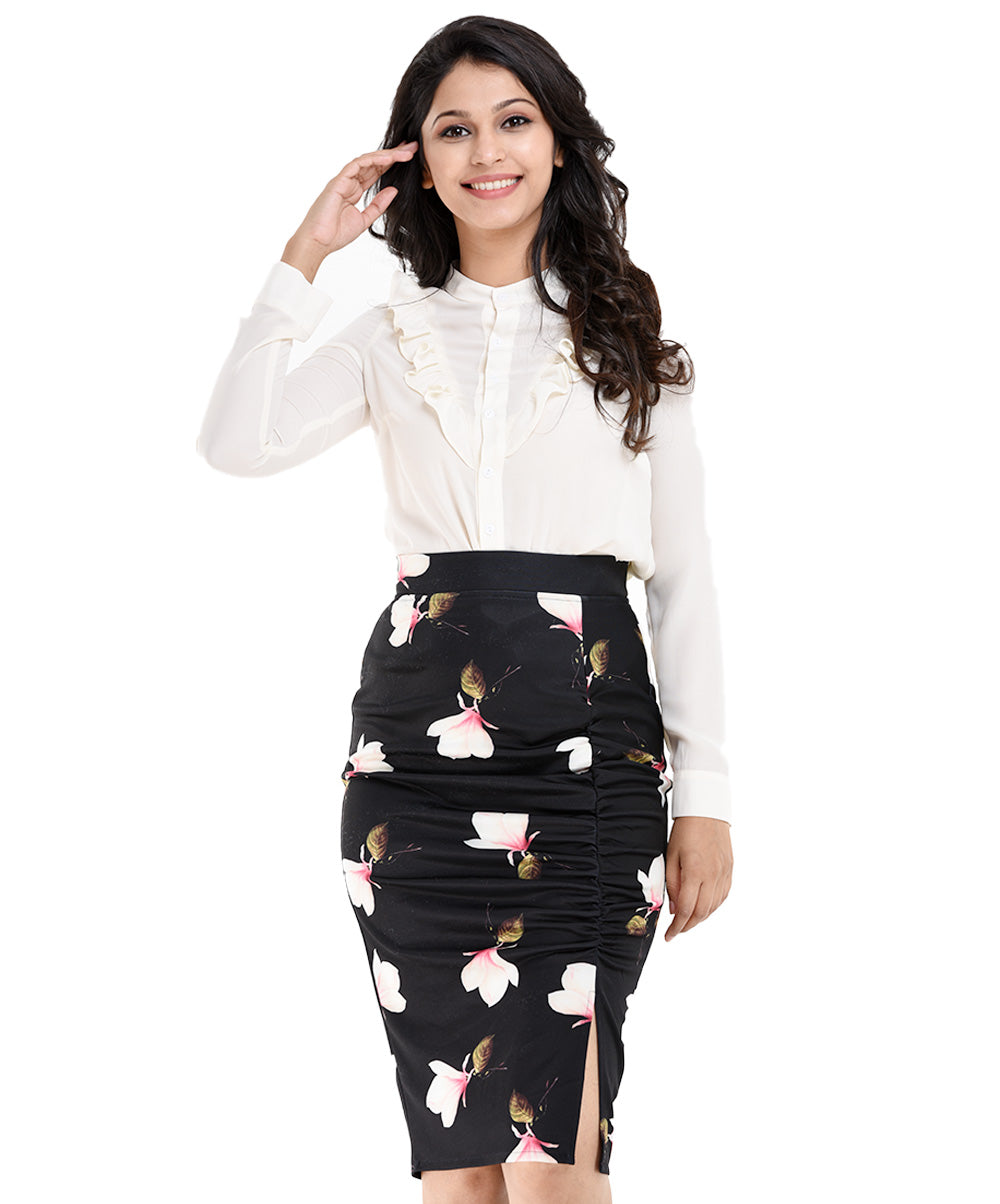 Bella Seam Gathered Floral Tight Skirt