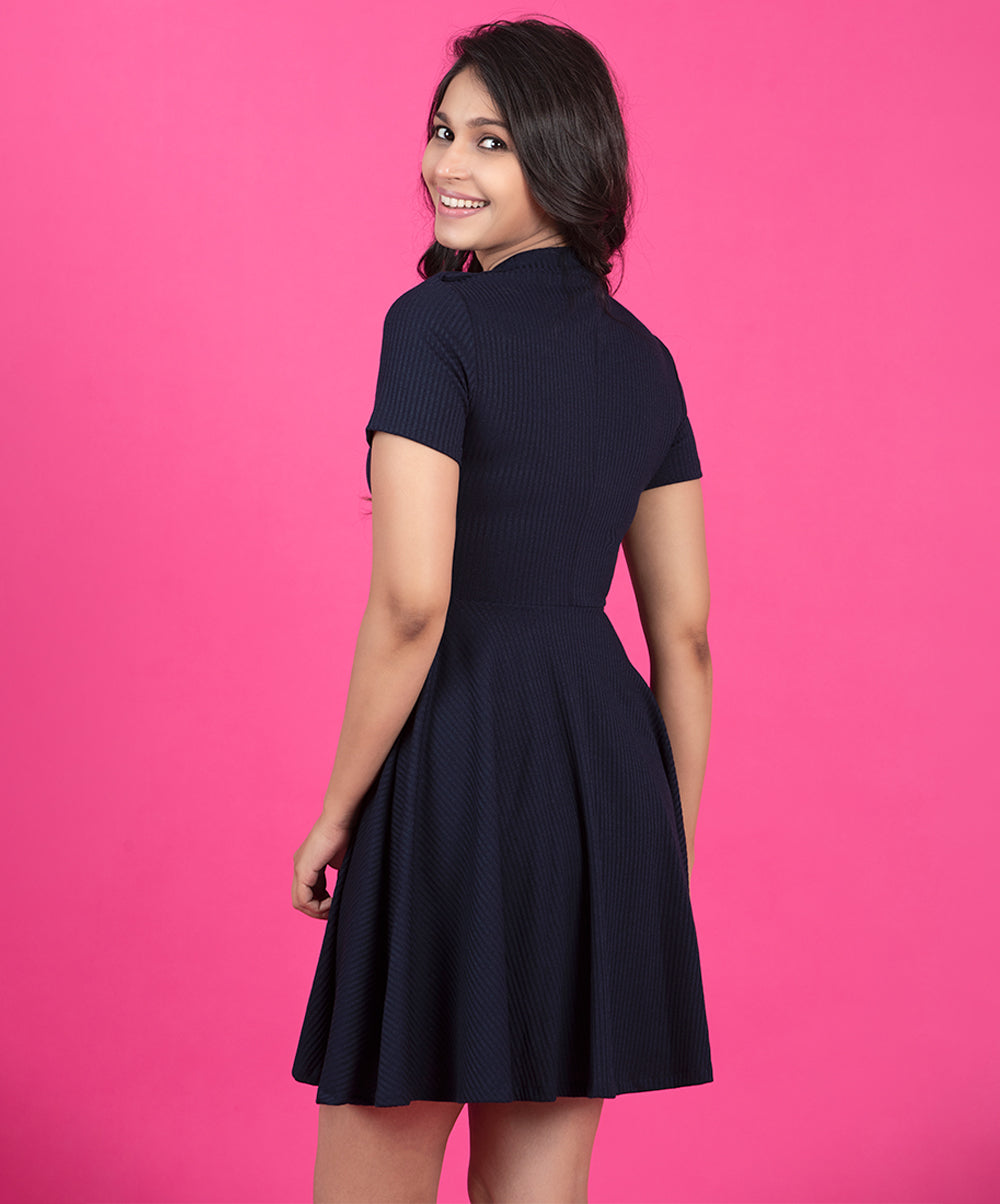 Button Detailed Navy Blue Knit Dress