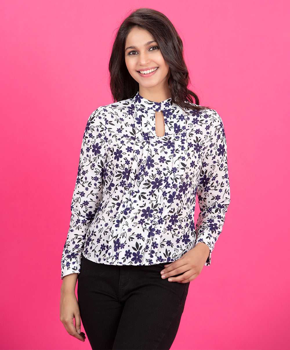 Blue Floral Pintuck Top