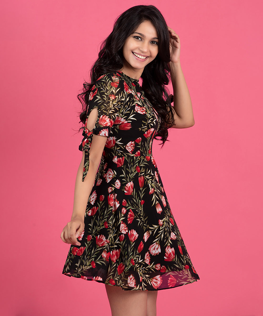 Chiffon Floral Sleeve Tie Up Dress