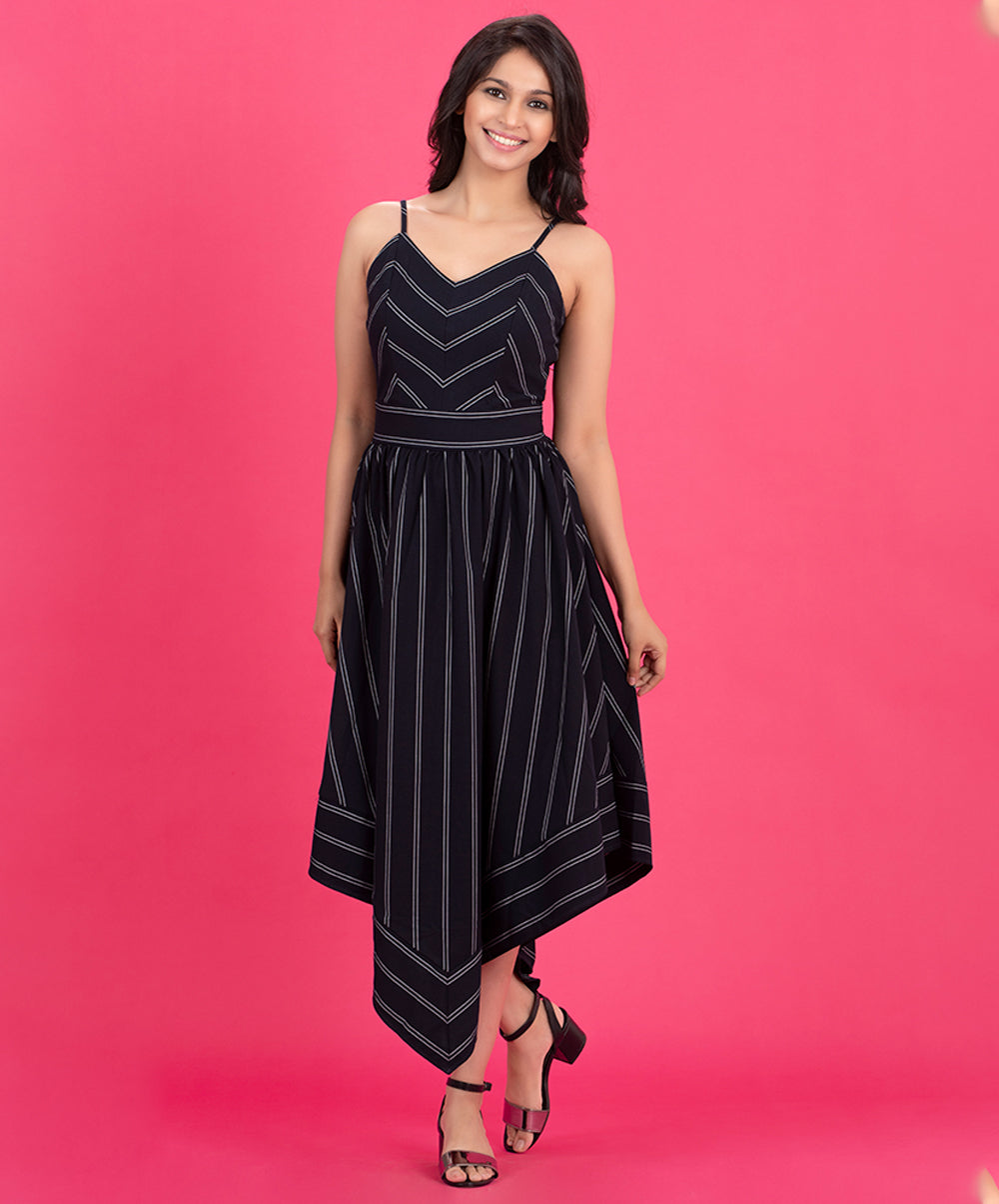 Stripped High Low Dress