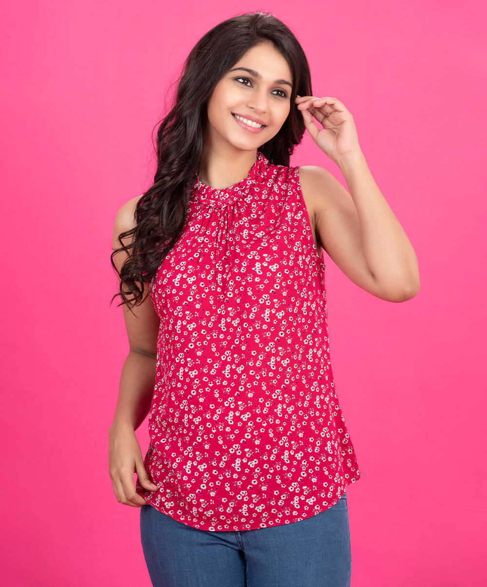 Sleeveless Neck Frilled Top