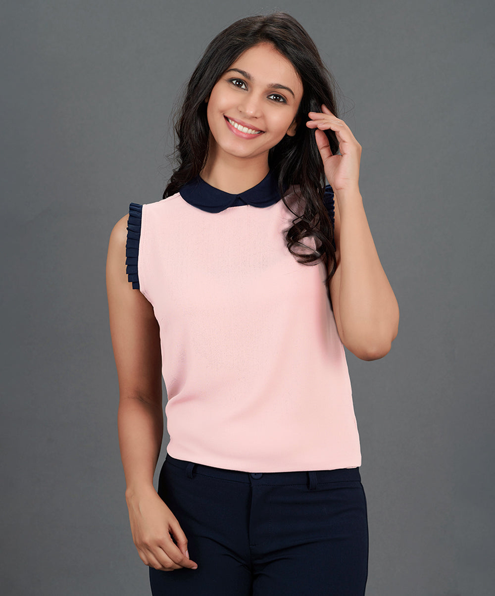 Pink And Navy Blue Frilled Top