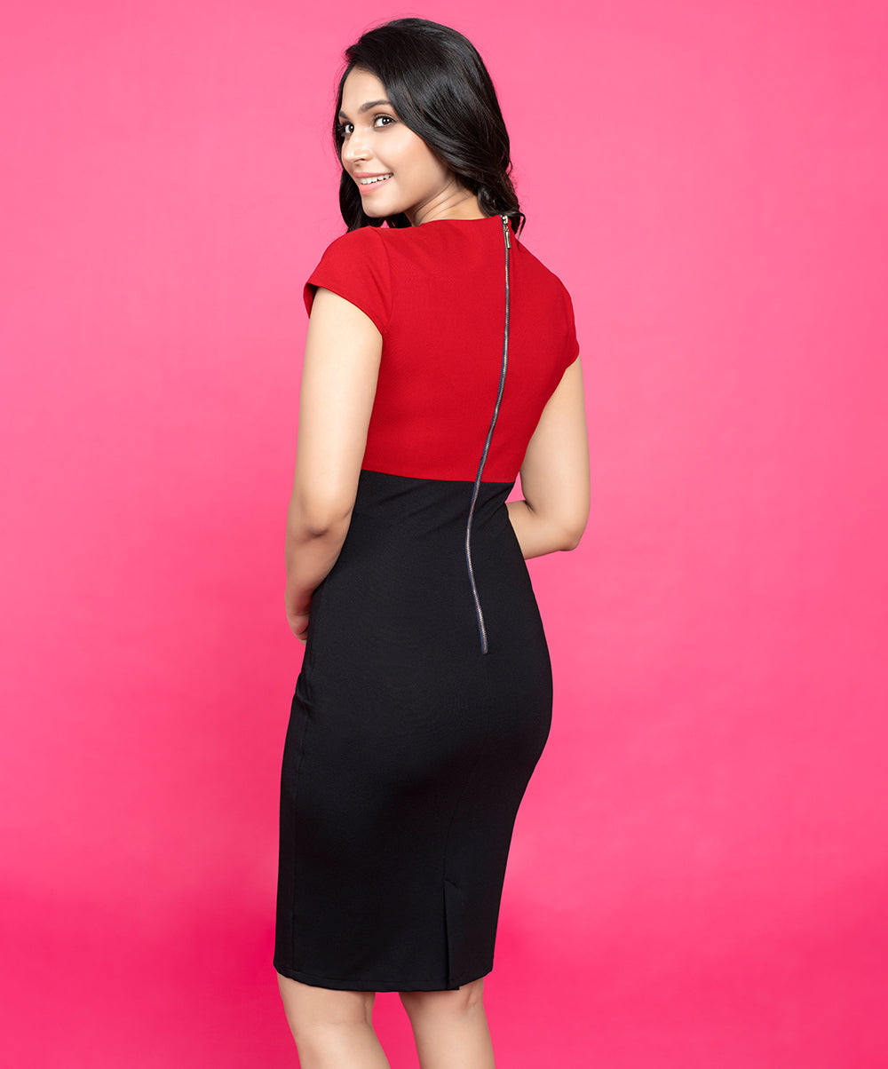 Front Bow Body Con Dress