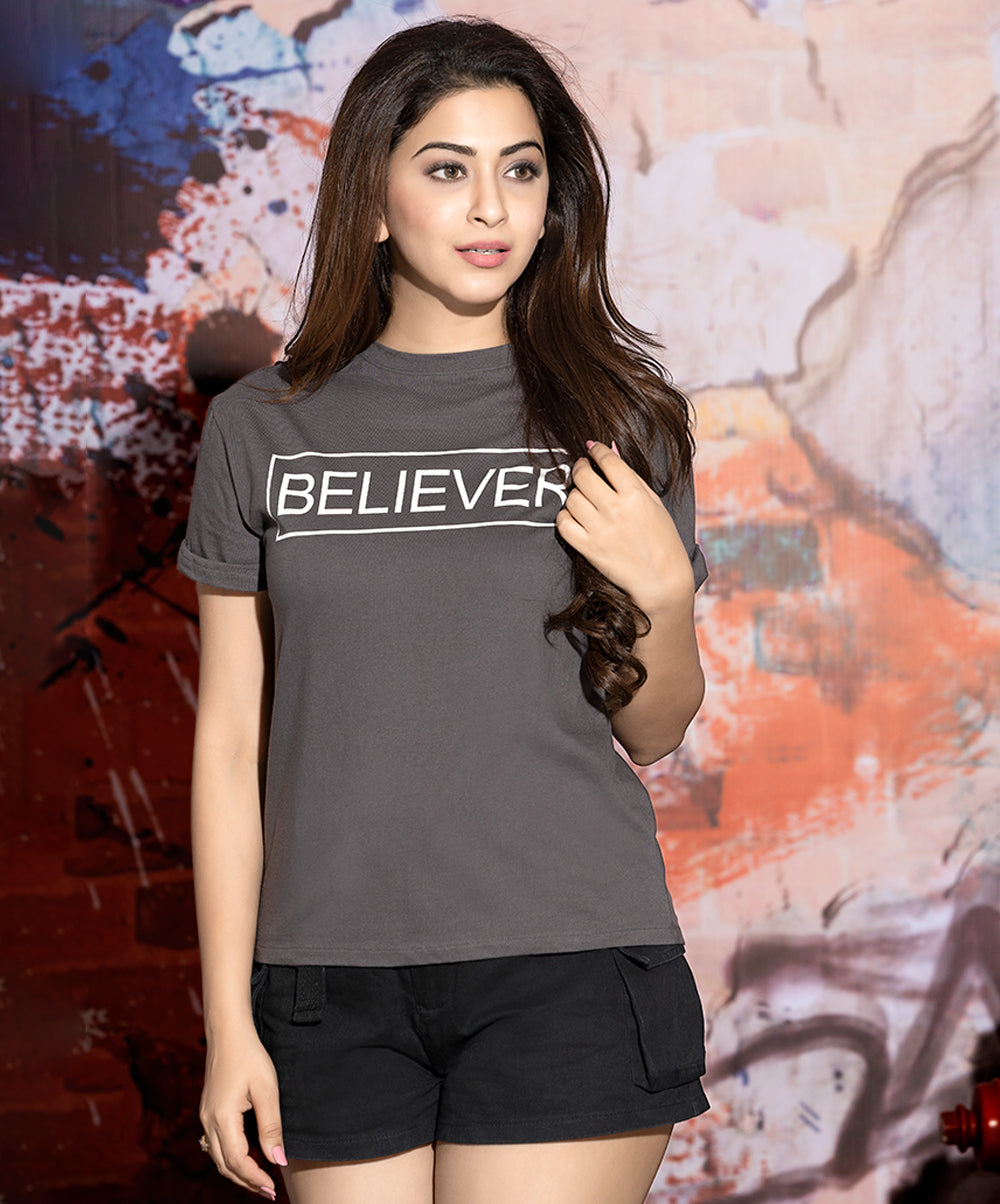 Believer Printed Grey T-Shirt