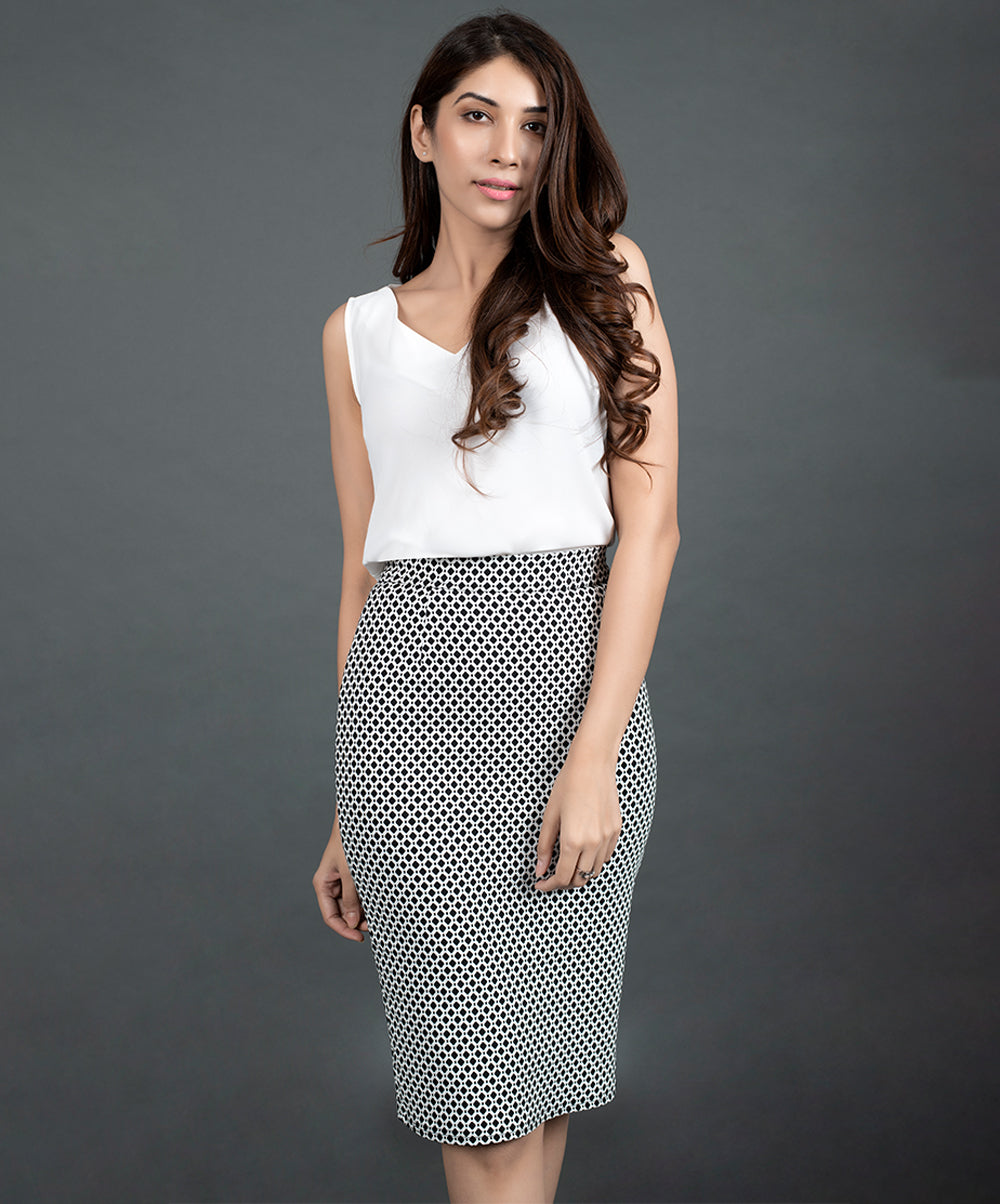 Black And White Shift Skirt