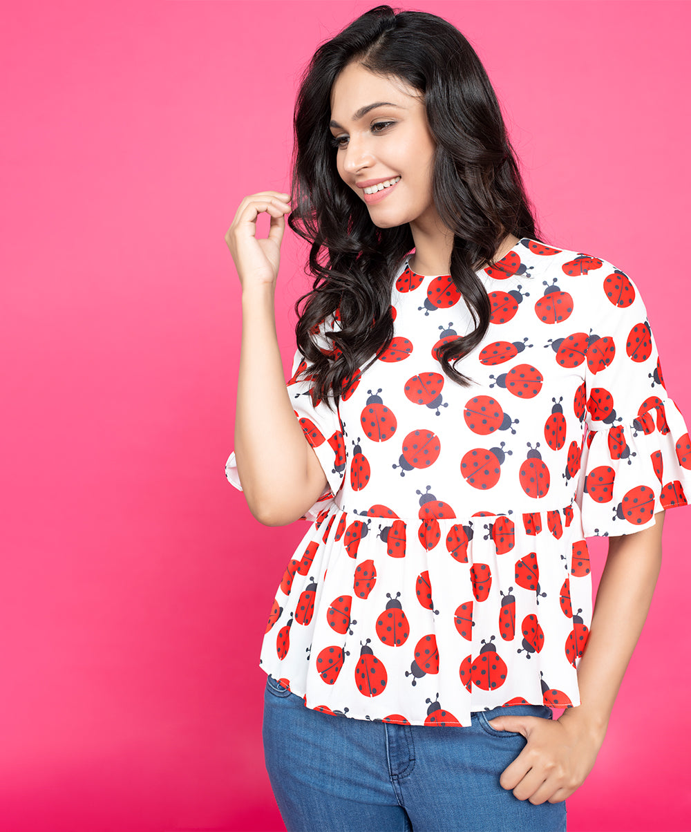 Lady Bug Flared Top