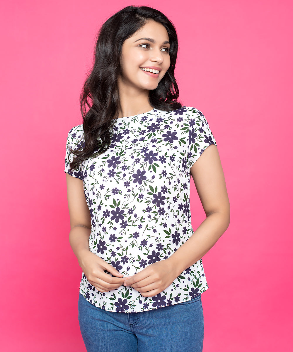 Back Bow Purple Floral Top