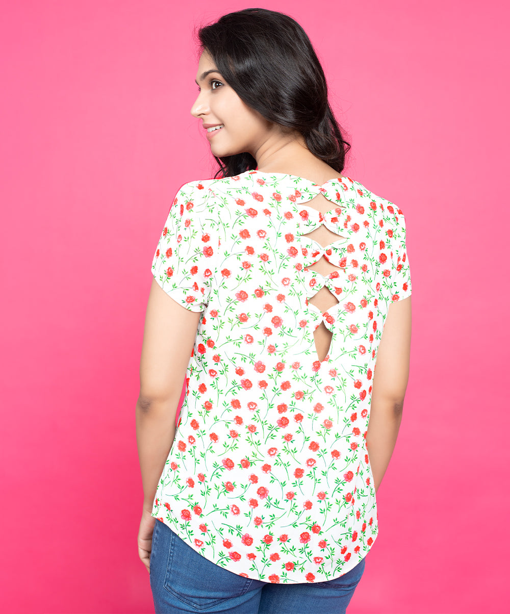 Dusky Floral Back Bow Top