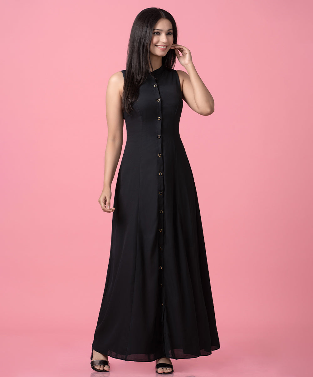 Front Buttoned Maxi Dress